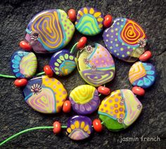jasmin french  ' sugar skin  ' lampwork beads