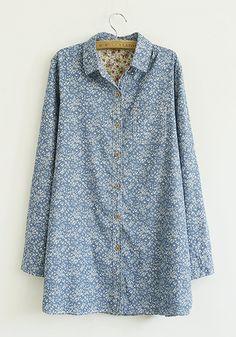 Blue Flowers Print V-neck Long Sleeve Jean Blouse