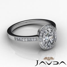 Glistening Oval Diamond Engagement Halo Pave Set Ring GIA I VS2 Platinum 2 5ct | eBay