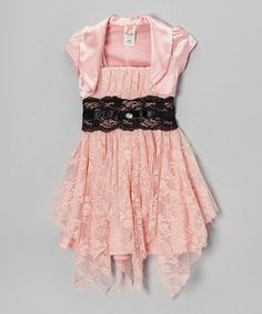 Take a look at this Peach Handkerchief Dress & Bolero - Toddler & Girls by Kidz WinC on #zulily today!