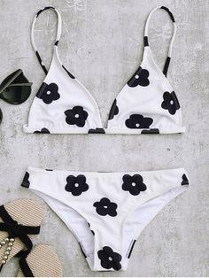 $20.49 Low Waisted Floral Print Bikini Set - WHITE M