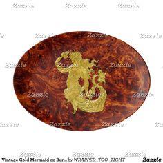 Vintage Gold Mermaid on Burlwood Pattern Porcelain Serving Platter