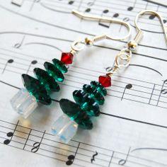 Swarovski Crystal Green Christmas Tree Earrings