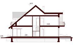DN Karen is a house with an attic, basement with garage single user in a block building. The project is. Attic, House Plans, Villa, Wolf Wallpaper, Cottage, House Design, How To Plan, Architecture, Building