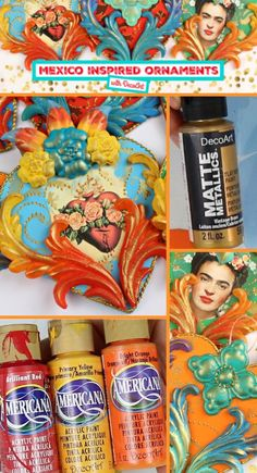 Decorate your tree with Mark Montano using beautiful Mexican folk art inspired ornaments painted with Americana Acrylics and DecoArt Matte Metallics! Mexican Crafts, Mexican Folk Art, Crafts To Do, Arts And Crafts, Mexican Christmas Decorations, Fridah Kahlo, Aluminum Can Crafts, Frida Art, Mexico Art