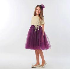 ROCHITA CU AURIU SI TUL MOV Special Occasion, Girls Dresses, Skirts, Fashion, Tulle, Dresses Of Girls, Moda, Fashion Styles, Skirt