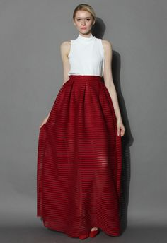 Glam Stripes Cutout Maxi Skirt in Red - Skirt - Bottoms - Retro, Indie and Unique Fashion