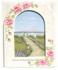 Arch-Framed Painting -- English Cottage Seaside Garden