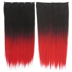 Anime Cosplay Wig Gradient Ramp 5 Cards Hair Extension   BlackTRed#