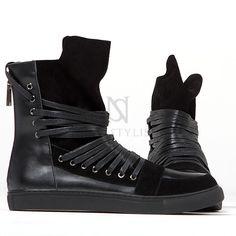 Overlaced hightongue zipper high-top black sneakers - 383