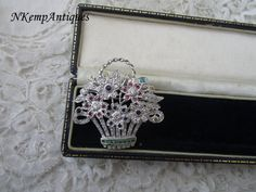 Queen mother brooch basket of flowers real silver by Nkempantiques