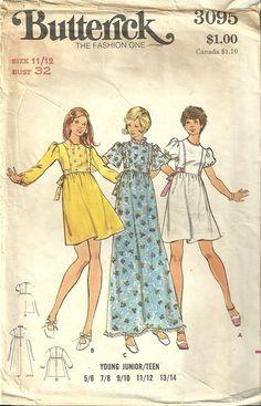 Butterick 3095 Vintage Long Short Wedding Bridesmaid Easter Dress Sewing Pattern Junior 11