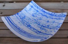 Awesome piece for your beautiful blue bathroom or kitchen!  BLUE ICEFLAKE CONFETTI Fused Glass Square by DawnofCreationArt, $24.00