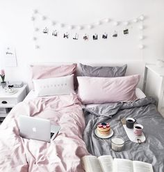 Bedroom interior - blush, grey and memory photo wall / pancake love!