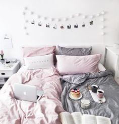 Bedroom interior - blush, grey and memory photo wall / pancake love!
