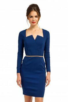 Paper Dolls Midnight Blue Long Sleeve Angular Sweetheart Dress