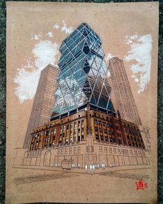 chinese architecture art Hearst Tower - New York. Click the image, for more art by Diego Oquendo. Architecture Concept Drawings, Watercolor Architecture, Architecture Sketchbook, Arte Sketchbook, Urban Architecture, Chinese Architecture, Architecture Portfolio, Sketches Arquitectura, Art Alevel