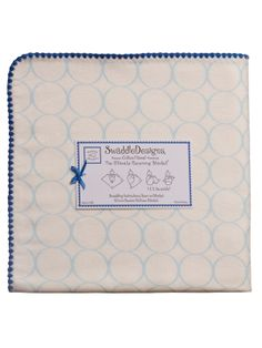 SwaddleDesigns - Organic Ultimate Receiving Blanket - Ivory with Pastel Blue Mod Circles & True Blue Trim