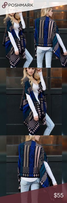 🍁🍁COMING SOON🍁🍁 Navy Mocha Poncho Glamvault Sweaters Shrugs & Ponchos