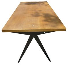 FRANCE  1950s  OAK TOP AND BLACK PAINTED DINNING TABLE BY JEAN PROUVE