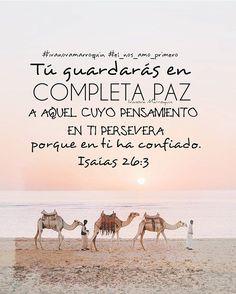 Tú guardarás en completa paz a aquel cuyo pensamiento en ti persevera porque en ti ha confiado - Isaias 26:3