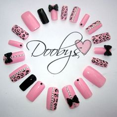 DOOBYS 20 Hand Painted False Nails RHINESTONE 3d silver bow black baby pink girly cute spots nail art sparkly