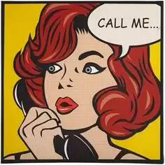 Call Me... Young red haired woman on phone. Comic Pop Art.