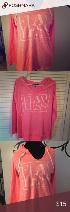 "🆕City Streets Hot Pink Lightweight Cotton Hoodie 🆕City Streets Hot Pink Lightweight Cotton Hoodie. EUC hoodie is soft and slightly higher in front than in back. V-neck and says ""flawless"" on front in white letters. Great for a sporty look or working out. City Streets Tops Sweatshirts & Hoodies"