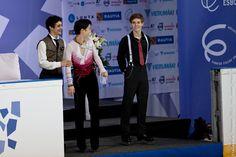 Yuzuru Hanyu, Javier Fernandez, Richard Dornbush   Men Podium Finlandia Trophy 2012 Espoo 2012-10-06
