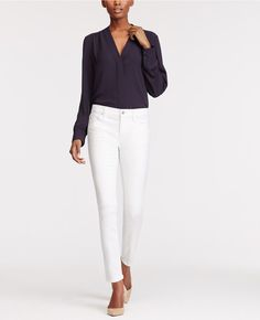 """Hits at the ankle. Cool and confident. Our modern fit, leaner through your hips and thighs. Front zip with button closure. Belt loops. Classic five-pocket styling. 28"""" inseam."""