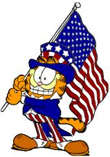 Garfield the cat free 4th of July American flag clipart image, funny cartoon character Garfield the cat waving the flag in an American patriotic clip art graphic.