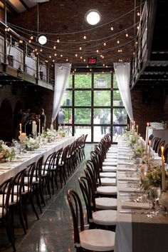 long tablescapes at The Foundry http://thefoundry.info/  Photography by karenhill.com, Planning by angweddingsandevents.com, Floral Design by saipua.com