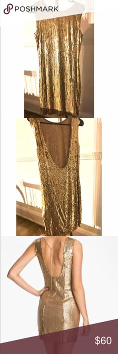 """Stunning Gold Sequined Mini Dress Michael Kors sequin dress, guaranteed to turn heads. Worn twice. As pictured I cut out the inside tag because it was visible with the low back but the chain clasp has Michael Kors inscribed to prove authenticity. Size medium - approximately 16"""" chest and 36"""" shoulder to hem laying flat. I included a photo of the same dress on a model so you can see how gorgeous the back of this dress is! Michael Kors Dresses Mini"""