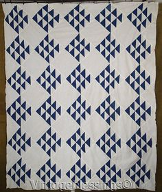 """ANTIQUE Deep Indigo Blue and White Flying Geese QUILT TOP 81"""" x 67""""  