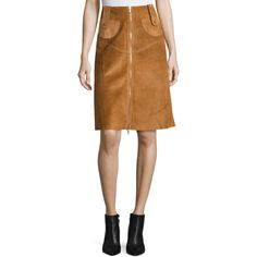 Derek Lam Suede Front-Zip A-Line Skirt (€2.710) ❤ liked on Polyvore featuring skirts, brown, women's apparel skirts, straight skirt, front zip skirt, a-line skirts, front zipper skirt and suede skirt