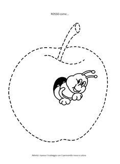 La maestra Linda : Colore rosso Apple Coloring, Montessori, Stencils, Kindergarten, Snoopy, Classroom, Autumn, Embroidery, Education