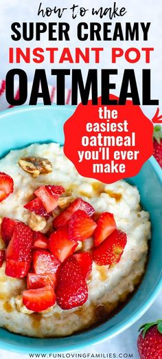 This creamy Instant Pot oatmeal will become a breakfast staple once you see how easy it is to make. We use old fashioned oats and top with our favorite fruits and nuts. Creamy Oatmeal Recipe, Instant Pot Oatmeal Recipe, Homemade Oatmeal, Oatmeal Recipes, Delicious Breakfast Recipes, Breakfast Healthy, How To Make Breakfast, Apple Dump Cakes