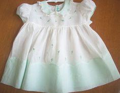 Vintage Baby Dress Light Green & White Batiste Embroidery, Alfred Leon Original