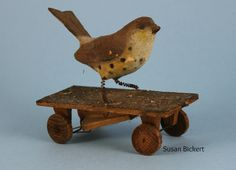 "Early German bird on wheels w/squeak mechanism.   In my book ""Early Toys/Frühes Spielzeug, Thuringia & Erzgebirge."""