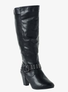 Studded Heeled Riding Boots (Wide Width)
