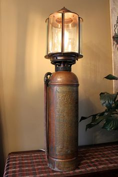 Antique fire Extinguisher Lamp Excellent Patina, Copper and Brass