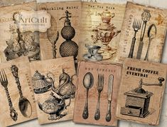 BON APPETITE - Digital Collage Sheet Printable Gift Tags Vintage Paper Craft ACEO jpg. $4.90, via Etsy.