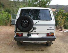 VW Vanagon Syncro Westfalia, Swing away tire carrier, swing out, spare tire carrier Kombi Camper, Campers, Vw Vanagon, Buffalo, Dreams, Caravan, Camper Ideas, Camper Trailers, Camper