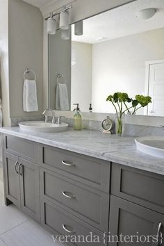 Love these Gray Bathroom Cabinets! Would look great in my master bathroom if I g. - Love these Gray Bathroom Cabinets! Would look great in my master bathroom if I got rid of the sink, - Grey Bathroom Cabinets, Grey Bathroom Vanity, Grey Cabinets, Bathroom Renos, Grey Bathrooms, Beautiful Bathrooms, Shaker Cabinets, Gray Vanity, Bathroom Mirrors