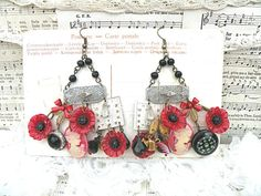 red poppy earrings assemblage cameo charm by lilyofthevally