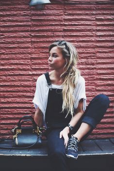 Blue Black Denim Dungarees