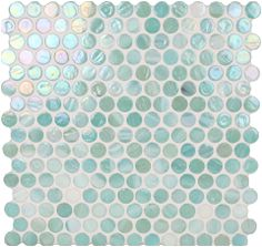 Dynamic Surfaces  Penny Round, Circles, Ocean, Glossy & Iridescent, Green, Glass