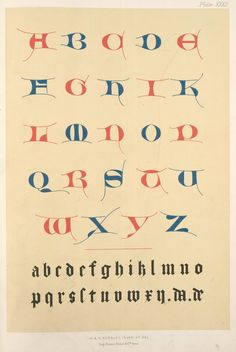 Free printable that you can download and frame of 14th century alphabet.  From the New York Public Library Digital Gallery