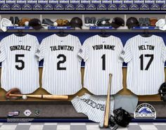 Colorado Rockies MLB Baseball - Personalized Locker Room Print / Picture. Have you or someone you know ever dreamed about playing next to your favorite Colorado Rockies players. You or someone you know can be right there in the locker room with Colorado Rockies players! Optional framing with mat is available. Perfect for gifts, rec room, man cave, office, child's room, etc.   (http://www.oakhousesportsprints.com/colorado-rockies-locker-room-print/)