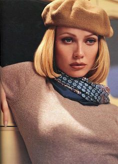 """Gwyneth Paltrow as 'Faye Dunaway' in """"Bonnie and Clyde"""" - Makeup artist Kevyn Aucoin.  I love the beret and scarf, but would dial back the makeup, and cool the beiges to taupes."""